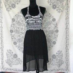 Cecico | Black & White Tribal Print High Low Dress
